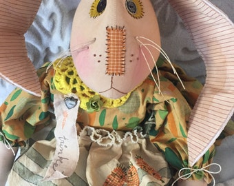Handmade Rabbit Doll, Primitive Rabbit, Handmade Primitive Bunny, Art Doll Rabbit, One Of a Kind, Rabbit Doll, Easter Primitive Doll
