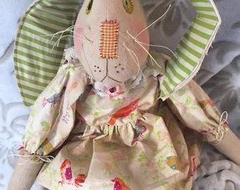 Handmade Primitive Bunny, Handmade Rabbit Doll, Primitive Rabbit, Art Doll Rabbit, Easter Rabbit Doll, OOAK, Whimsical Home Decor, Rabbit