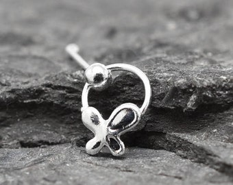 Nose ring, Sterling Silver Nose Ring, Butterfly Nose Ring, Butterfly Jewelry, Ball End Nose Ring, Nose Stud, Nose Piercing, Nose Jewelry