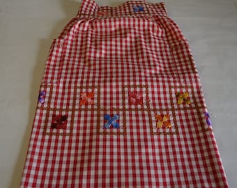 Vintage handmade red gingham half apron with two pockets, hostess apron