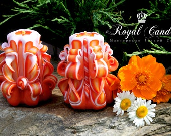 Little candle - carved candles - small candles - a gift - a set of candles - Gift Idea - orange candle
