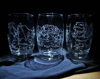 Pokemon tumblers 375ml includes three glasses with the original starter pokemon and their evolved forms