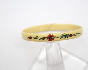 Hand Painted Celluloid Bangle Bracelet