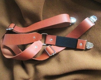 Calfskin SUSPENDERS with CLIPS,adjustable,Y-back