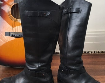 Tall Black Riding Boots | English Riding Boots | Fall Trend Boots Black Leather | Buckle Detail Boots Halogen Brand | FREE SHIPPING