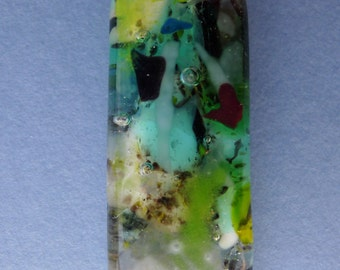 Solid fused glass pendant - Rock pool series