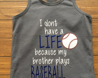 Baseball Girls Tank, Baseball Sister Tank, Toddler Tank, Summer, Racerback Tank, Kids Tank Top, Baseball Tank, Cute Baseball shirt