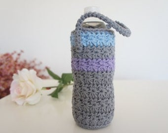 Water Bottle Cozy, Grey Crochet Bottle Cozy, Water Bottle Sleeve, Summer Accessories, Yoga, Biking, Gym, Hiking, Kids  Bottle Cozy