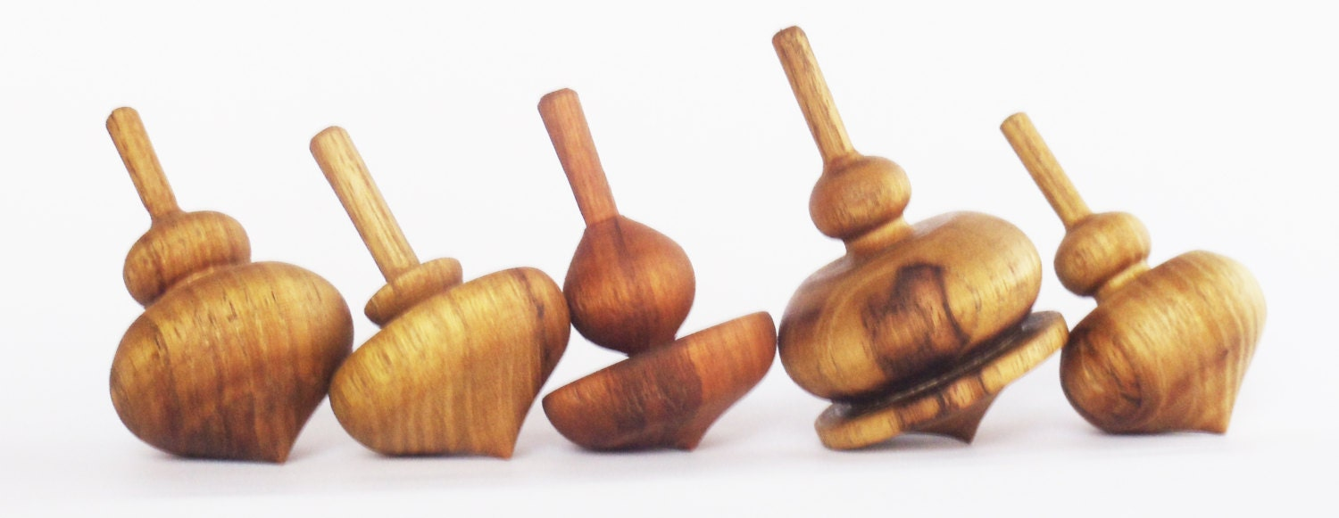 Set of 5 wooden spinning tops Spinning Top Woodturning