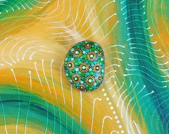 Goldshire - hand-painted stone - mandala