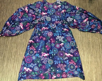 Vintage Handmade 1960's/70's Floral Dress Hippie Boho Mod Balloon Sleeves Size Small