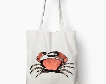 nautical tote bag, crab bag, canvas tote bag