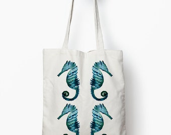 Seahorse tote, nautical tote bag, watercolor art tote bag