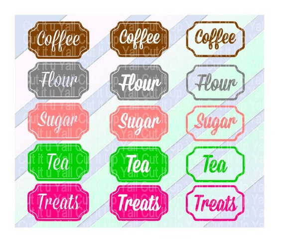 kitchen canister labels flour tea sugar coffee by cutitupyall