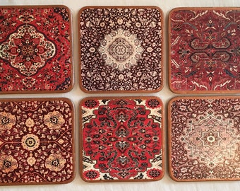 Decoupaged Set of 6 Square Coasters Inspired by Persian Rugs, SKU#1002 (Other designs and colors can be made to order.)