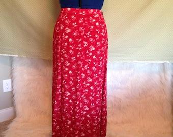 Flowery Maxi Skirt - Vintage Skirt - Red Skirt - Women's Skirt