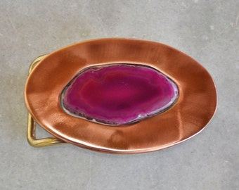 Pink Agate belt buckle in brass and copper - Handmade