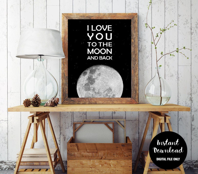 i love you to the moon and back wall art inspirational quote. Black Bedroom Furniture Sets. Home Design Ideas