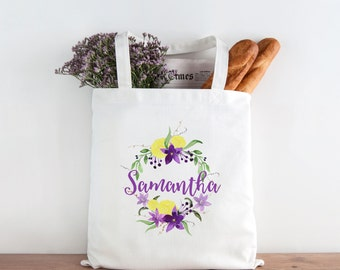 Floral Canvas Tote Bag, Purple and Yellow Custom Name Canvas Tote Bag, Printed Tote Bag, Market Bag, Shopping Bag, Reusable Grocery Bag 0151