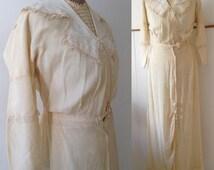 Vintage Edwardian 1920s Antique dress Cream Ivory Sailor collar Tea Wedding dress