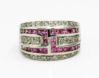 Diamond and Pink Sapphire White Gold Ring,