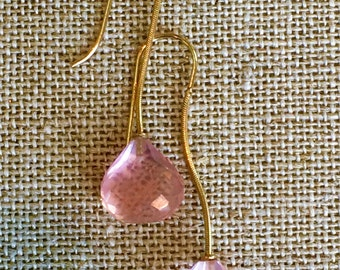 Antique Pink Quartz Earrings, Drop Earrings, 14k Gold Earrings, Pink Earrings