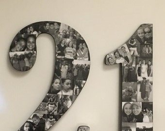 Wooden Number Picture Collage
