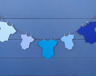 Baby Shower Banner-Onesie Baby Banner-Its a Boy Banner-Blue Banner-Clothespin Banner-Twine Banner-Cardstock banner-Mommy To Be Banner