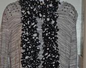 Black and White Classic Polka Dot Fabric Ruffle Scarf. Handmade Crochet Fashion Winter Scarf, Ladies Winter Accessories. Crocheted Scarf.