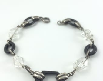 """Deco Jet and Crystal bracelet, Sterling Silver Chain, 8.5"""""""