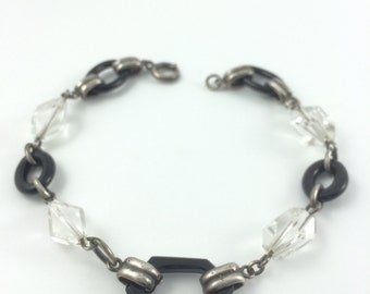 Deco Jet and Crystal bracelet, Sterling Silver Chain, 8.5""