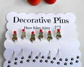 Cat Sewing Pins - Decorative Sewing Pins - Kitty Pin - Thread Catcher Pin - Quilting Pin - Scrapbooking Pins - Gift for Quilters - Push Pins