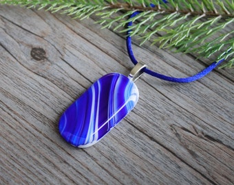 "Blue and White Fused Glass Pendant ""Streaks of Blue"" and Satin Necklace; Fused Glass Jewelry; Fused Glass Necklace; Unique Glass Treasures"
