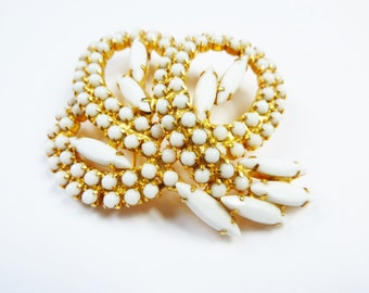 Vintage White Beaded and Rhinestone Brooch Gold Tone 1940s