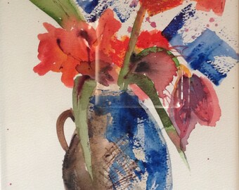 giclee reproduction of original watercolor of vase of flowers