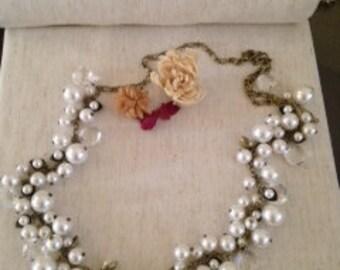 Pearls and Crystal Drops earrings