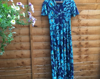 Vintage 70s Boho Blue Maxi Dress with Flower Print - UK 10 EU 38 US 8