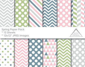 Spring Paper Pack Digital Paper, Pink, Green, Blue, Gray, Polkadot, Chevron, Stripes, Triangles, small commercial use, jpeg, pastel, easter