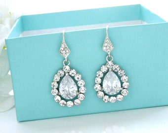 Bridesmaid earrings, Swarovski crystal earrings, CZ earrings, Bridal drop earrings, Wedding earrings, Teardrop earrings Bridal jewelry 11403