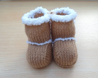 Ugg-y Buggy Bootees Hand Knitted - very cute!