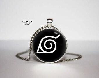 Naruto Konoha leaf village symbol Necklace, Naruto Konoha leaf pendant, Naruto necklace, Art Gifts, for Her, for him