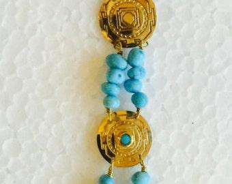 Eye of the West 14 Karat Gold and Turquoise  Bracelet December's Birthstone