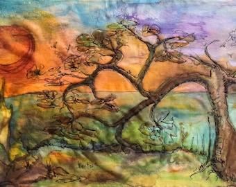 Original #silk painting, A tree