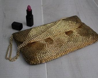 Vintage Evening Bag / Beaded Purse / Gold Handbag / Vintage Gold Beaded Evening Bag / Special Occasion Bag / Weddings