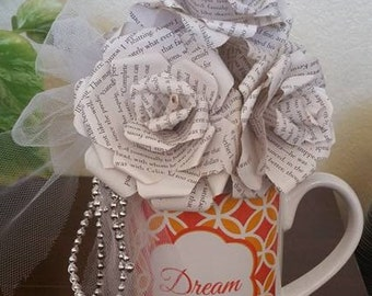 Book Page Bouquet with Cup