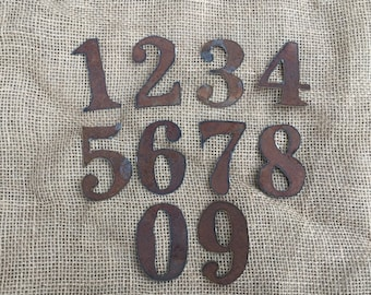 3 inch tin numbers, 3 inch rusty tin numbers, tin numbers 0-9, clock numbers, rusty metal numbers, metal numbers, tin clock numbers, t