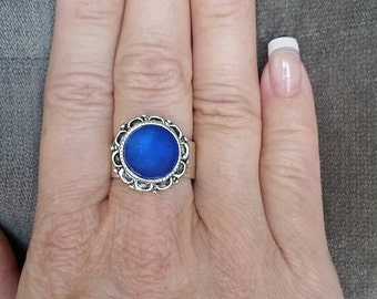 Electric Blue Seaglass Ring