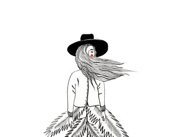 The Autumn Girl Illustration Black and White
