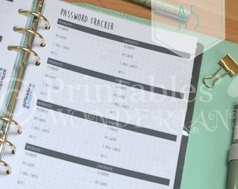 Password tracker inserts for A5 planner digital download, password log, site, email, username, password, notes