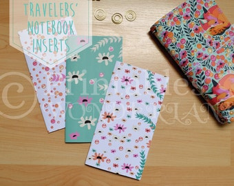 Floral midori traveler's notebook cover inserts - TN notebook cover digital download